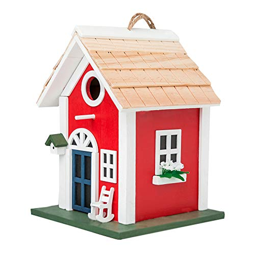 MEWANG Hanging Colourful Birdhouse Garden Country Cottages Bird House Condo Wooden Red Height 9.7'