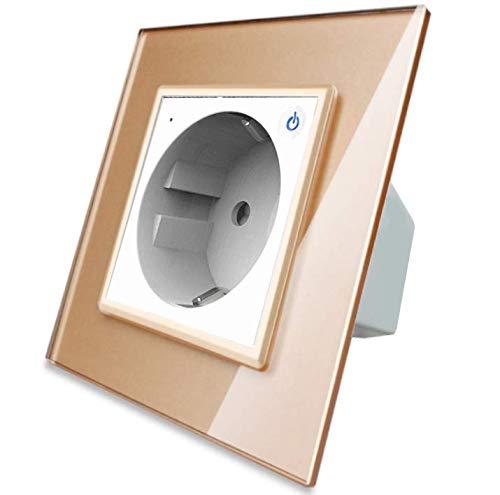 Enchufe inteligente Livolo ZigBee Smart Home Touch en color blanco con marco de cristal dorado VL-C7ZBED-11-VL-C7-SR-13 para teléfono móvil, aplicació
