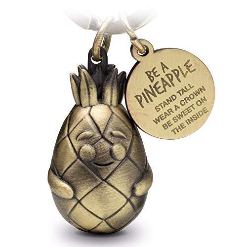 FABACH Ananas Schlüsselanhänger Piny mit Gravur - Süßer Schlüsselanhänger Ananas - Motivation, Freundschaft und Liebe Glücksbringer aus Metall für Frauen in Bronze - Be a Pineapple