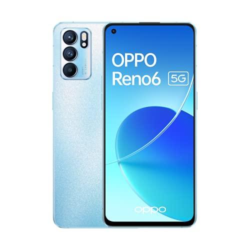 Reno 6 5G Artic Blue - AMOLED FHD+ 6,43' 90Hz, Triple cámara 64MP+8MP+2MP, Mediatek Dimensity 900, 8GB RAM + 128GB almacenamiento, carga rápida 65W y 4300mAh...