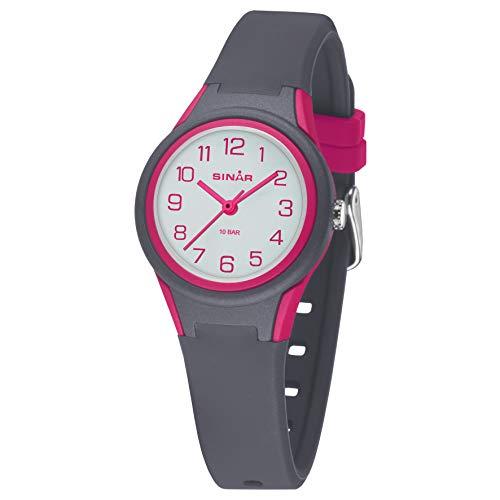 SINAR Mädchen Jungen Unisex Armbanduhr Sportuhr Fitness analog Quarz 10 Bar wasserdicht anthrazit pink XB-47-8