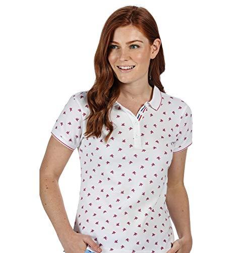 Regatta Polo en Coton FAINE II boutonné au Cou avec imprimé sur l'ensemble T-Shirts Vests Femme, White Bird, FR : S (Taille Fabricant : 12)