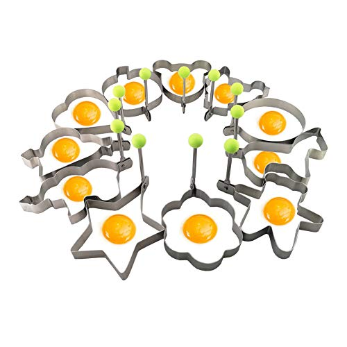 Egg Rings with Handle, Egg Poachers Set of 11 pcs 304 Stainless Steel Fried Egg Molds Pancake Molds Metal Poached Egg Shapers Pancake Makers Omelet Molds Cooking Tool Kitchen Gadget