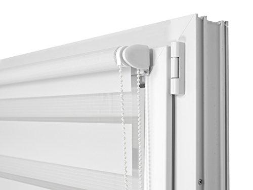 Doppelrollo in 4 Farben & in 8 Größen – mit Klemmfixierung am Fensterahmen und fest montierter Trägerschiene – kinderleichte 3-Step Montage, ca. 80 x 150 cm, weiß - 4