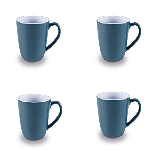 Melamin Tassenset in frischen Farben 4 Stück aus spülmaschinengeeignet blau • Campinggeschirr Geschirr Personen Picknick Camping Geschirrset