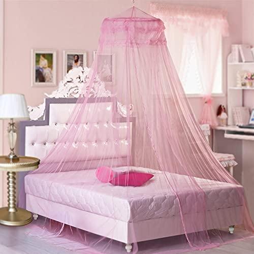 Mosquitera Camas, mosquitera de encaje, Universal Dome Malla de mosquitera, Instalación fácil, para ViajeCama de Matrimonio, Cama Individual, Cunas, contra Mosquitos y Insectos (Rosa)