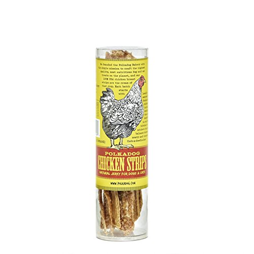 Polkadog Chicken Strip Jerky Dog Treats, Cat Snacks - All-Natural Pet Snacks for Dogs, Cats - Healthy Puppy Treats - 100% USA Chicken Breast -  Meaty Treat for Pets – 4 oz.