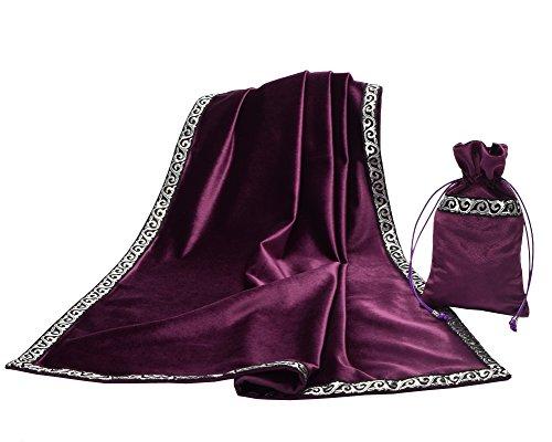BLESSUME Altar Tarot Mesa Stoff Göttlichkeit Wicca Samt Stoff mit Tarot Tasche (Lila)