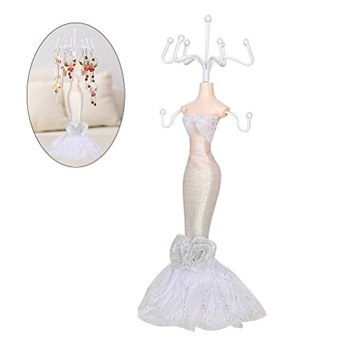 OULII Jewelry Stand Holder Earrings Necklace Organizer Lady Mannequins Gown Dress Resin Display Tree Stand