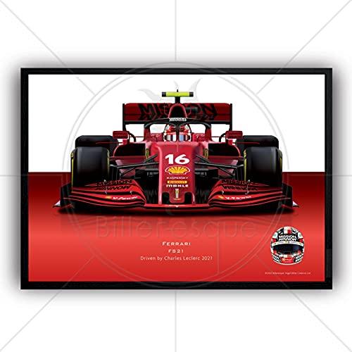 Póster de la Fórmula 1 Charles LeClerc 2021 Ferrari Super Poster Gran Premio Campeón Arte de la Pared Ilustración 1 M X61CM