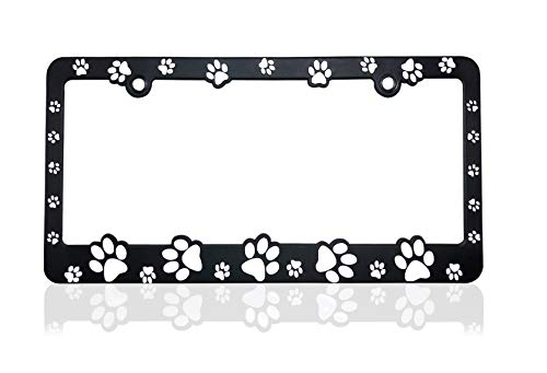 Black11 Designs - 3D Raised Paws Custom Designed License Plate Frame for All Pet Lovers - Made in USA