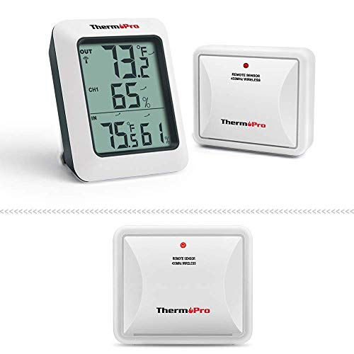 ThermoPro TP60S Digital Indoor Outdoor Thermometer + 1 Additional TX2 Outdoor Sensor