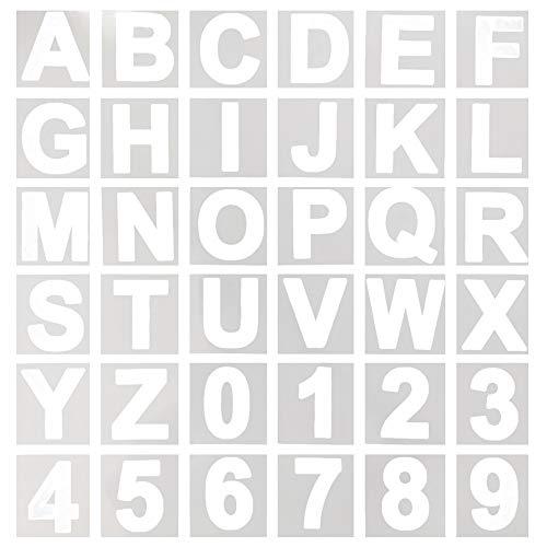 36 pezzi di lettere dell'alfabeto stencil, lettere in plastica riutilizzabili da 3 pollici e stencil numerici per progetti di artigianato fai-da-te