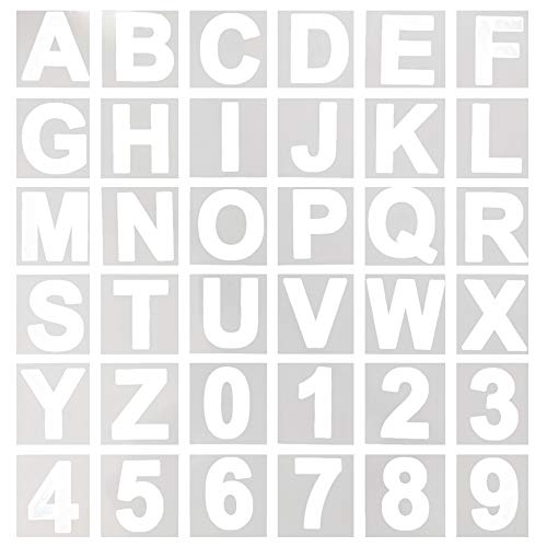 Vancool 36 Pcs Alphabet Letter Stencils, 3 inch Reusable Plastic Letter and Number Stencils for Wood, Wall, Chalkboard, Painting Learning, Home Craft Decoration, DIY School Art Projects