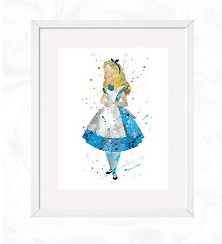 Alice Prints, Alice in Wonderland Disney Watercolor, Nursery Wall Poster, Holiday Gift, Kids and Children Artworks, Digital Illustration Art