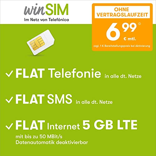 winSIM Handyvertrag LTE All 5 GB - ohne Vertragslaufzeit (FLAT Internet 5 GB LTE mit max. 50 MBit/s mit deaktivierbarer Datenautomatik, FLAT Telefonie, FLAT SMS und EU-Ausland, 6,99 Euro/Monat)