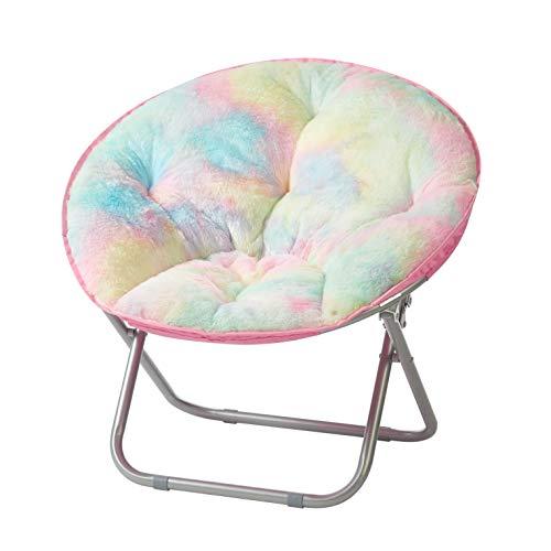 Heritage Kids Sorbet Dreams Rainbow Fur Kids Saucer Chair, 23', Multi