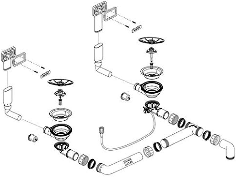 Weiß Ablaufgarnitur 2 x 3,5' Sieb C-overflow (2x) InFino (234459)