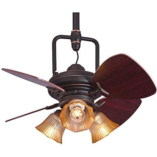 Elegante y creativo Lámpara de Techo Ventilador de techo Luz de techo de madera Retro-Village Mini con luces luz decorar la habitación principal de la lámpara de techo del ventilador, tamaño: 24 pulga