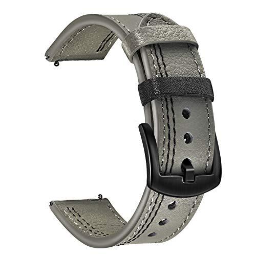 TRUMiRR Band for Fossil Men's Gen 5 Carlyle/Gen 5 Garrett Smart Watch, 22mm Double Color Genuine Leather Watchband Stainless Steel Buckle Strap for Men's Collider HR/Gen 4 Explorist HR/Gen 5E 44mm