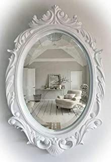 Wood Hand Crafted Oval Shape Vanity Wall Mirror for Living Room, 24X16 Inches
