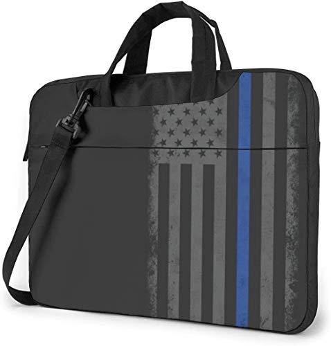 Maletín Funda para Ordenador Portátil Bandera Americana Delgada línea Azul Retro Portadocumentos Maletines y Bolso Bandolera para Portátil 13/14/15.6 Pulgadas