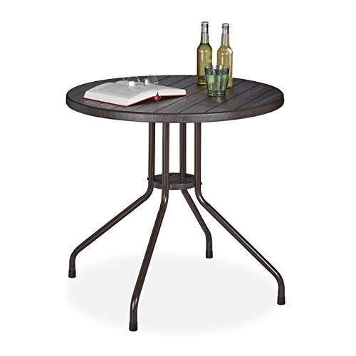 Relaxdays Gartentisch, Holz-Optik, runder Outdoortisch, Kunststoff, Metall, robust, Balkontisch, HxD: 75 x 80 cm, braun