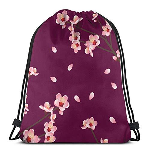 Lsjuee Prunus Persica Peach Flower Blossom RedDrawstring Backpack Sports Fitness Backpack Waterproof Men's and Women's Waist Bag Travel Yoga Beach School