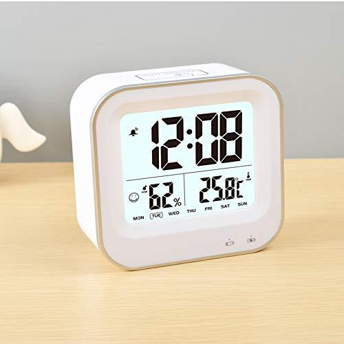 pridesong USB-Ladebildschirm Digitalanzeige elektronische Uhr elektronische Temperatur- und Feuchtigkeitsanzeige Wecker weiß