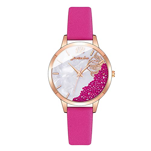 CXJC Reloj Deportivo de Cuero + aleación para Mujer. Digital 3ATM Reloj de Cuarzo Impermeable, 7 Colores Disponibles. (Color : F)