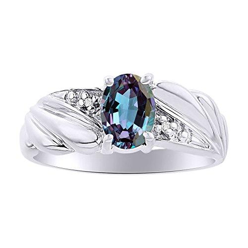 Diamond & Simulado Alexandrite anillo Set en plata de ley piedra de color piedra natal