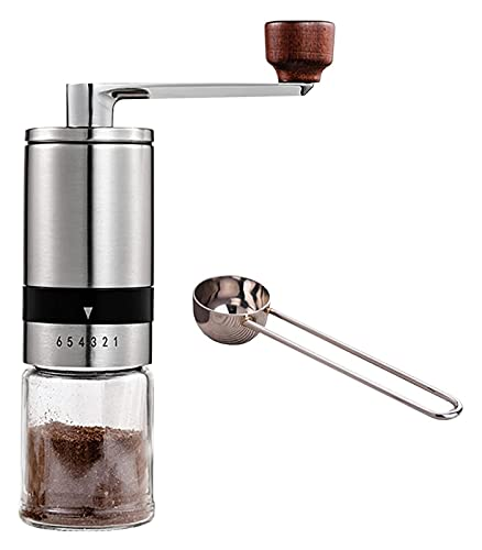 Ręczny młynek do kawy młynek do kawy Portable,stali nierdzewnej młynek do kawy,cicha praca z ekspresu do kawy i pary różdżka pełni automatyczna maszyna espresso kolor:(srebro+szkło)Wymiary:(2,16*6,69
