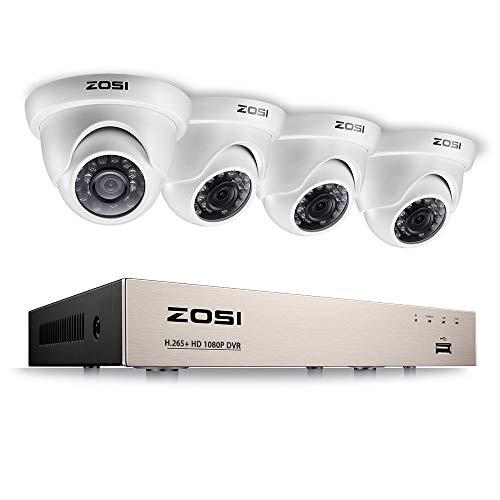 ZOSI Full HD 1080P Videoüberwachung System 8CH H.265+ 1080P DVR Recorder mit 4 Außen 1080P Weiß Dome Überwachungskamera Set ohne Festplatte, 20 Meter Infrarot Nachtsicht