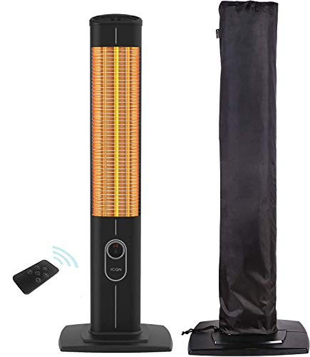 ICQN 1800 Watt Stand Heizstrahler | 4 Heizstufen mit Fernbedienung und Schutzhülle | Kohlenstoff Infrarotstrahler für Innen- & Außenbereich | Terrassenstrahler | IP20 | Digitalanzeige