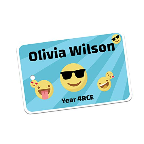 Personalised Designer themed Printed School Bag Tags - Personalised Label with Name & Contact Info, Durable Printed Bag or Luggage label. No More Lost Property - Pack of 2 (Emojis)