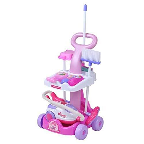 amara-global Putzwagen mit Staubsauger in Pink Reinigungswagen Spielzeug Spielküche Kinder
