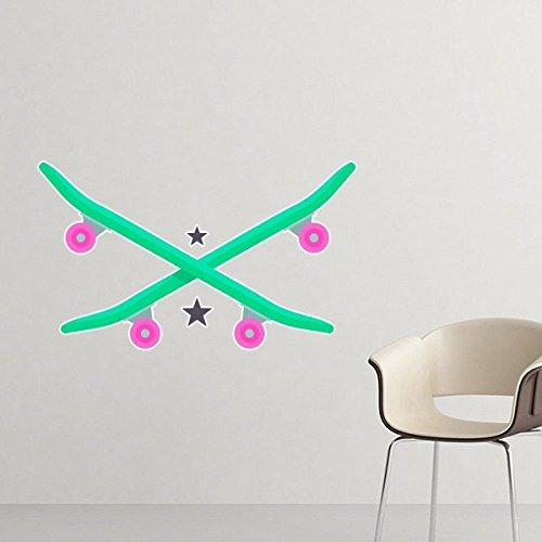 Winter Sport Ski, Skateboard und Star Pink Grün und Schwarz Watercolor abnehmbarer Wandtattoo Kunst Aufkleber Wandbild DIY Tapete für Raum Aufkleber 80cm schwarz
