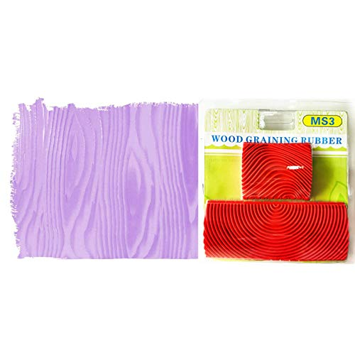 Wood Grain Stencil Set,2PCS Imitation Wood Grain Paint Roller Brush Wall Painting Tool Set Texture Art 2 in 1
