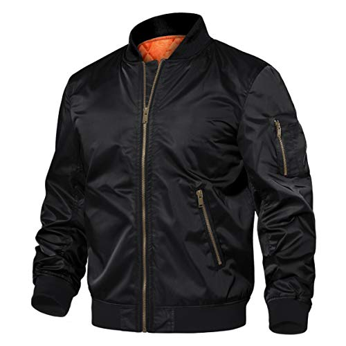TACVASEN Men's Jackets-Long Sleeve Classic Sport Windbreaker Softshell Flight (Black S)
