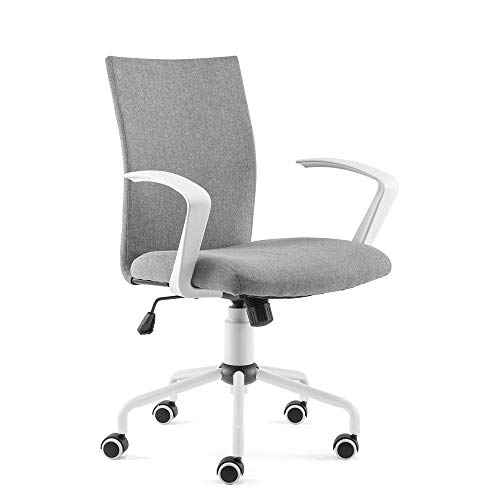 DJ·Wang Grey Desk Chair, Mordern Comfort White Swivel Fabric Home Office Task Chair with Arms and Adjustable Height Suitable for Computer Working and Meeting and Reception Place