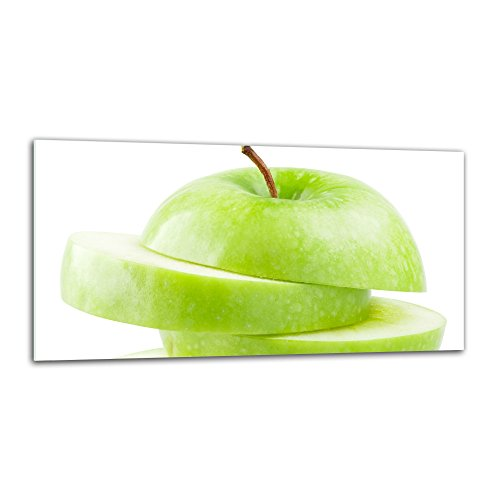 decorwelt Küchenrückwand Spritzschutz aus Glas 80x40 cm Wandschutz Herd Spüle Küchenspritzschutz Fliesenschutz Fliesenspiegel Küche Dekoglas Apfel Grün