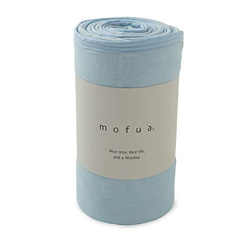 mofua (モフア) 夏用 タオルケット ブルー シングル 綿100% リバーシブル (表:タオル地/裏:ひんやり接触冷感) メッシュ構造でムレにくい エアーケット 31750102