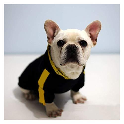 Perro mascota mascotas Ropa Carta raya amarilla Chihuahua sudaderas con capucha suéter for perros pequeños Animales Bulldog Francés suéter del barro amasado del traje XS-2XL #v (Color: Negro, tamaño:
