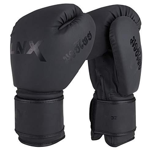 LNX Boxhandschuhe MT-One speziell für Muay Thai Kickboxen 10 12 14 16 Oz Sparring und Training UVM ultimatte Black (001) 10 Oz