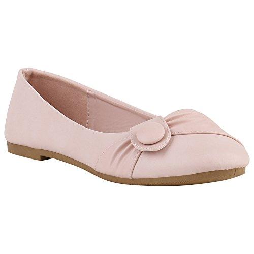 stiefelparadies Klassische Damen Ballerinas Modische Flats Knopf Nieten Snake Denim Ballerina Spitze Schleifen Schuhe 141411 Rosa Knopf 36 Flandell