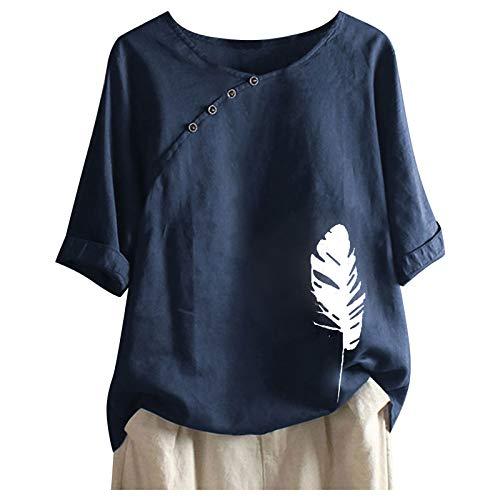 Xmiral Kurzarm T-Shirt für Damen Chinesischer Stil Schrägknopf Rundhals Bluse Druck Summer Tops Shirt(b-Marine,4XL)