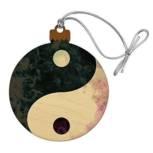 GRAPHICS & MORE Yin and Yang Chinese Duality Watercolor Symbol Wood Christmas Tree Holiday Ornament