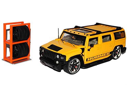 Jada Hummer H2 Gelb SUV mit Extra Felgen 1/24 Modell Auto