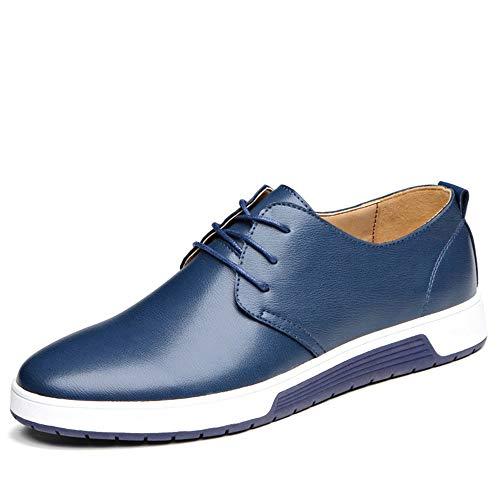 iwzmiapal Men Walking Shoes Skateboarding Shoes Leather Sports Trendy Black Blue Brown Flat Shoes for Men Skateboarding Men Shoes