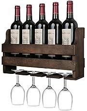 OROPY ścienny regał na wino z uchwytem na szklanki, regał na butelki w stylu vintage z drewna, do kuchni, jadalni, baru, salonu i kuchni, w pełni zmontowany